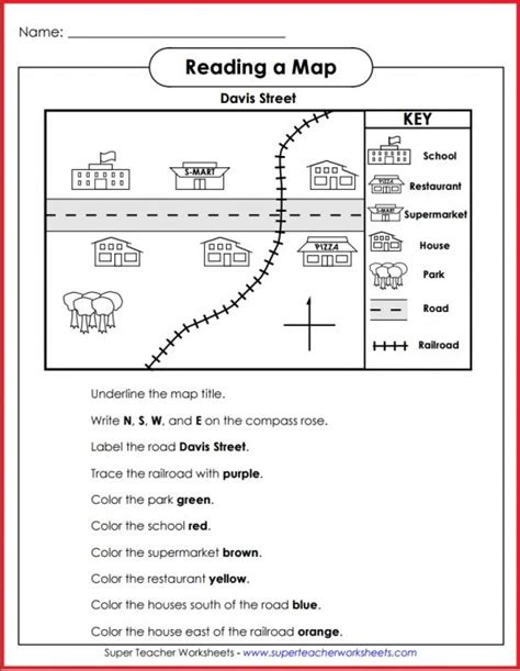 teach basic map skills printable map activity students