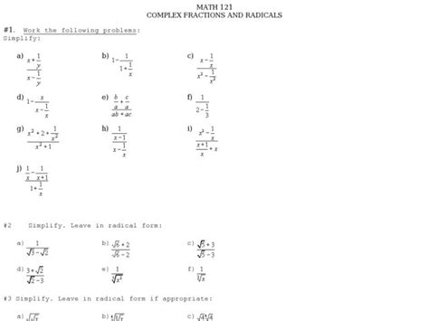 math 121 complex fractions radicals worksheet 9th 11th