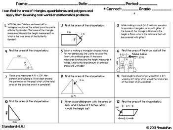 sixth grade math homework sheets geometry common core