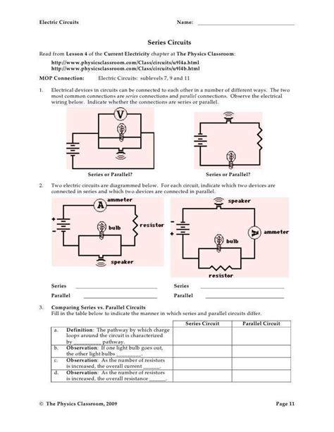 series parallel circuits worksheet homeschooldressage