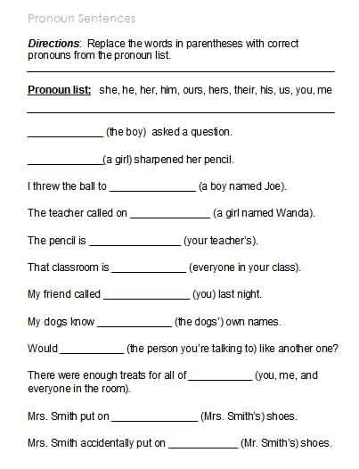 kinds pronouns worksheets answers google search