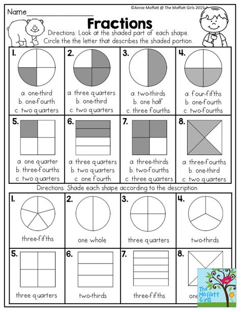 fun filled learning fractions worksheets 3rd grade fractions