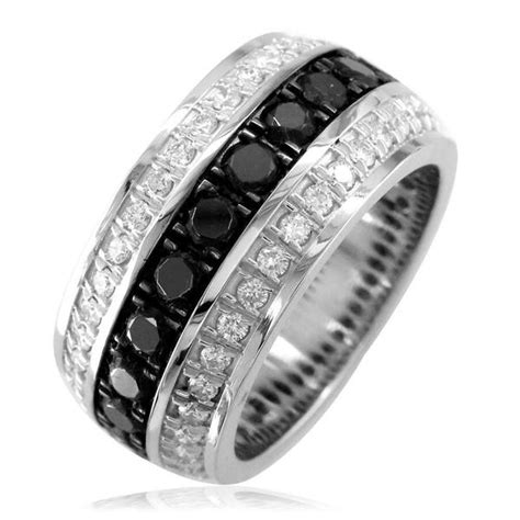 mens wide black white diamonds wedding band 14k