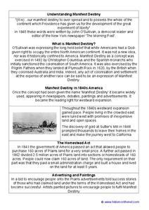 manifest destiny worksheet 5th 6th grade lesson planet