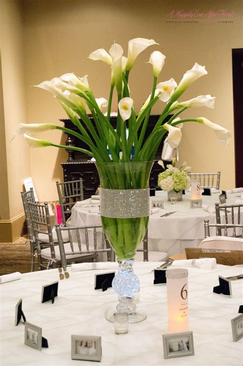 tall calla lily centerpiece bling wrap vase lily