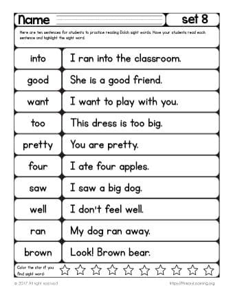 sight words reading practice list 8 primary learning