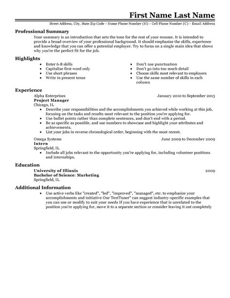 experienced resume templates impress employer livecareer