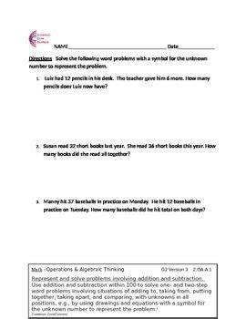 2 oa 1 word problems grade common core