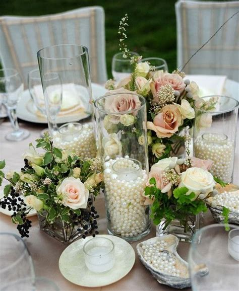 vintage wedding table decor centerpiece jars pearls wedding