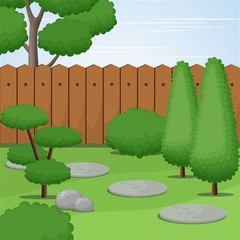 garden view trimmed trees bushes vector illustratioon vector