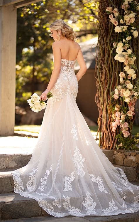 strapless sweetheart fit flare wedding dress graphic lace