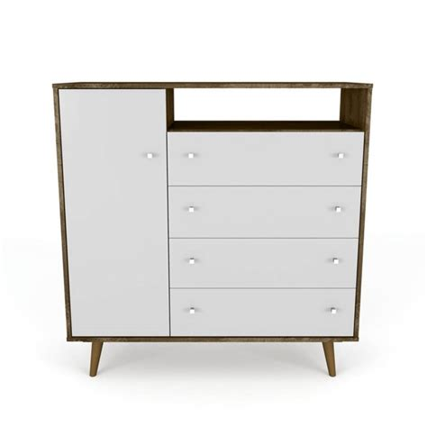 manhattan comfort liberty rustic brown white 4 drawer