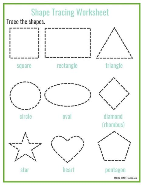 shapes worksheets preschool free printables shape tracing worksheets