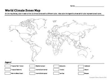 world climate zones map worksheet marcy edwards tpt