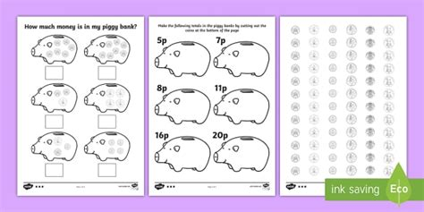 money piggy bank differentiated worksheets ha