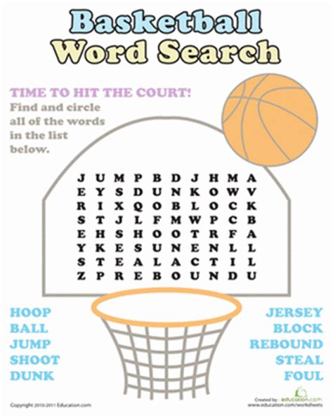 basketball word search worksheet education