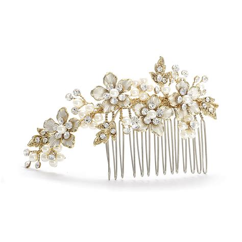 decorative hair comb gold ivory pearl wedding comb