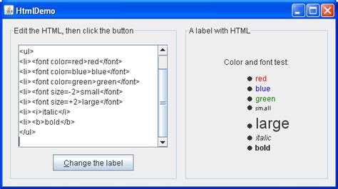 html swing components java tutorials creating gui jfc