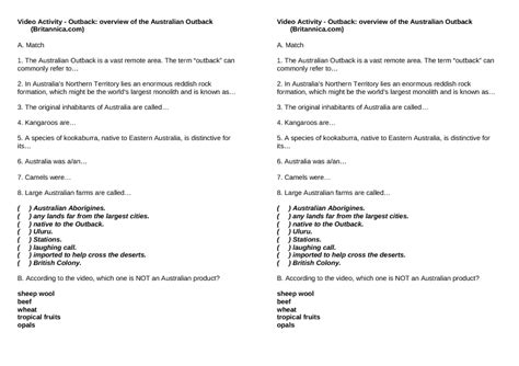 movie worksheet outback overview australian outback