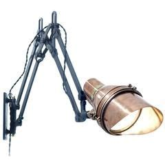 industrial articulated aluminum chrome swing arm sconce circa