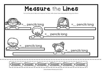 standard measurement length worksheets kindergarten grade