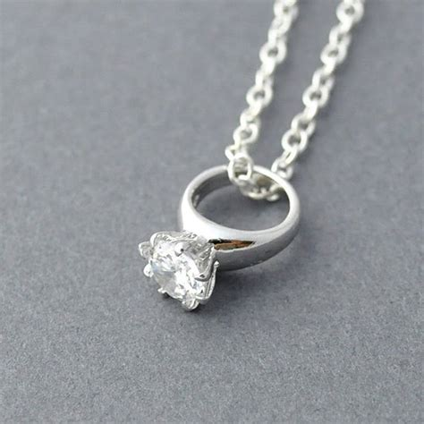 silver ring necklace wedding ring necklace diamond ring