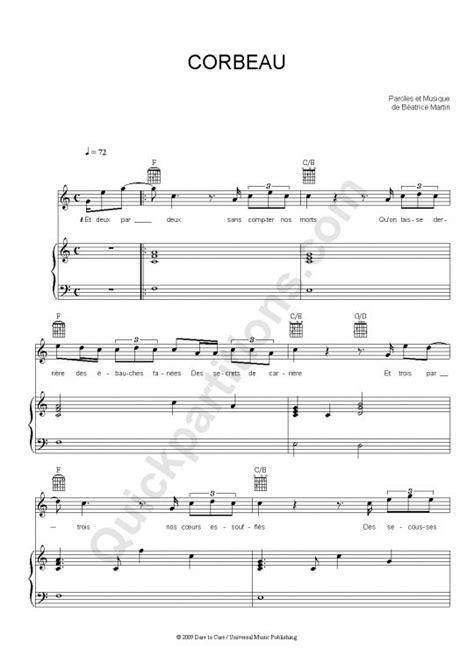 corbeau piano sheet music coeur de pirate coeur