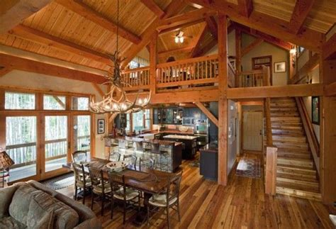 small log home plans loft shaped kitchen