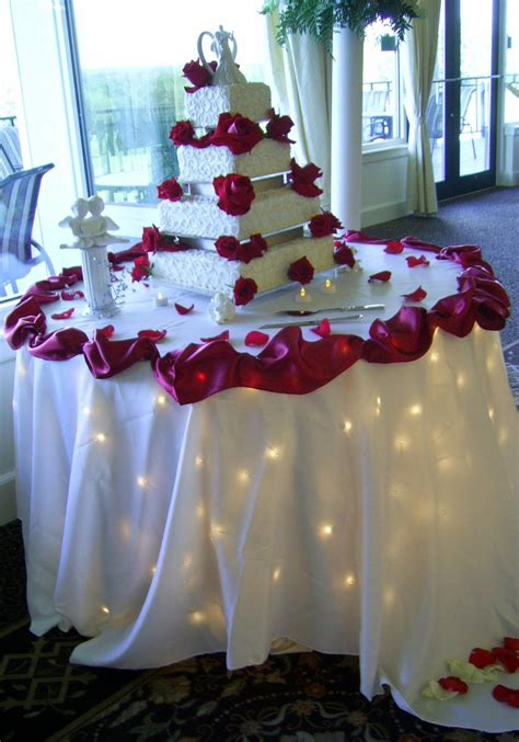 elegant wedding cake table decoration matched lovely red