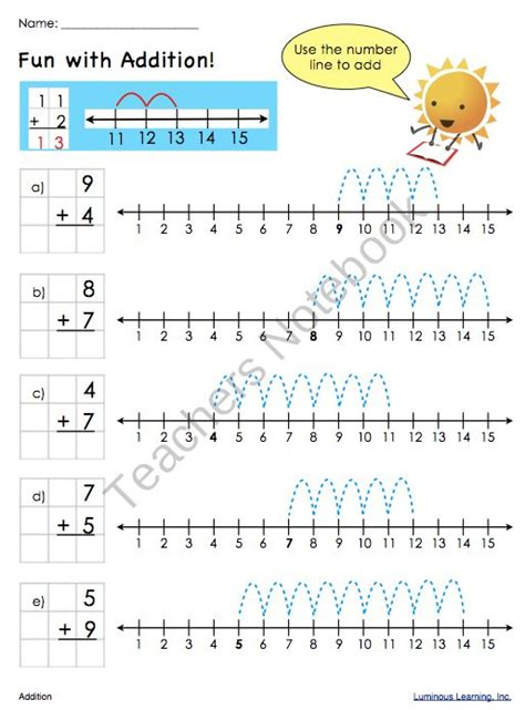 addition worksheets number line school stuff kiddos pinterest