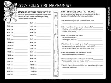 study skills time management printable student organizers logs