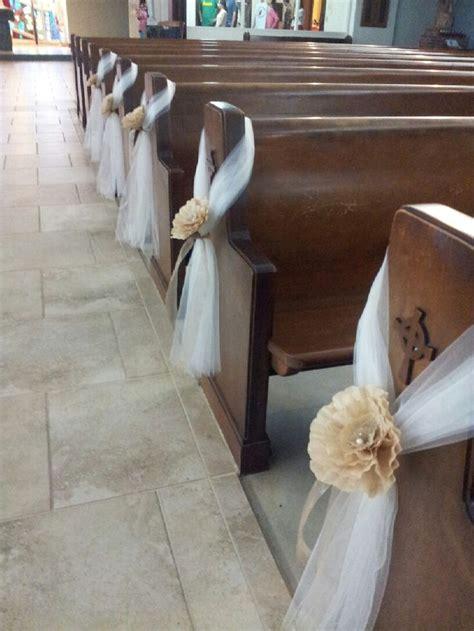 tulle church pew decoration google search idee matrimoni