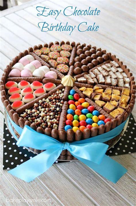 easy chocolate birthday cake lollies chocolates bake play