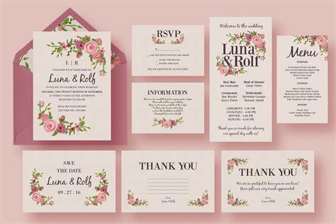 floral wedding invitation suite wedding templates creative market