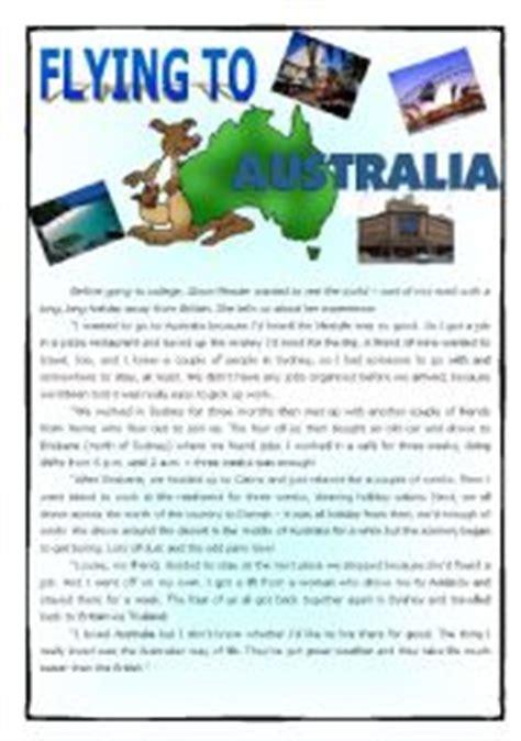 english worksheet flying australia