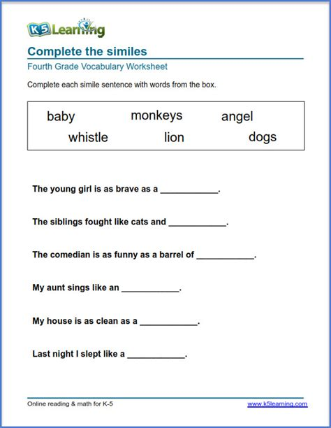 grade 4 vocabulary worksheets printable organized subject k5