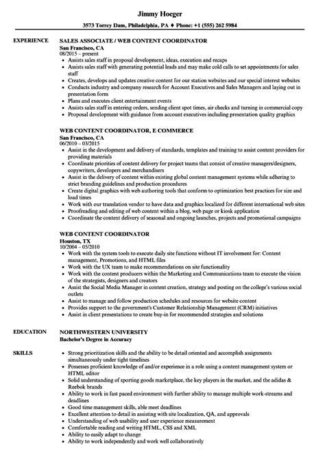 web content coordinator resume sles velvet jobs