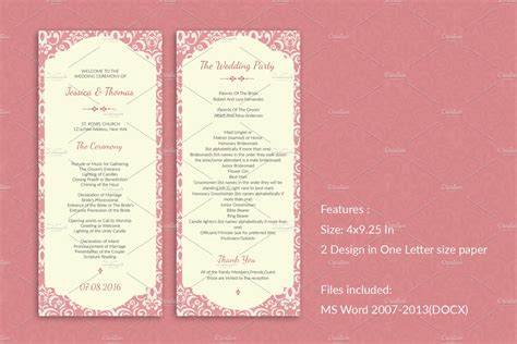 elegant wedding program template invitation templates creative market
