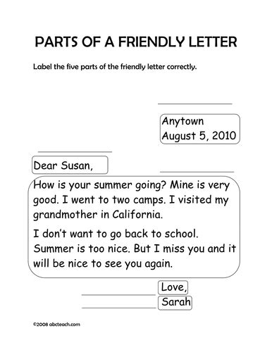 worksheet friendly letter primary teaching resources