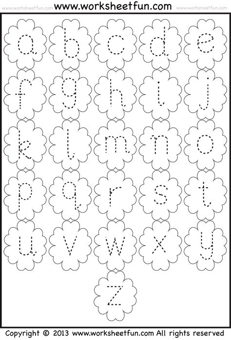 small letter tracing lowercase worksheet flower free printable