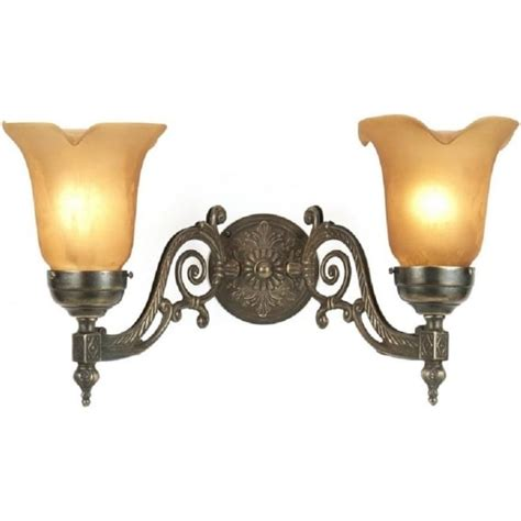 victorian style aged brass double wall light amber