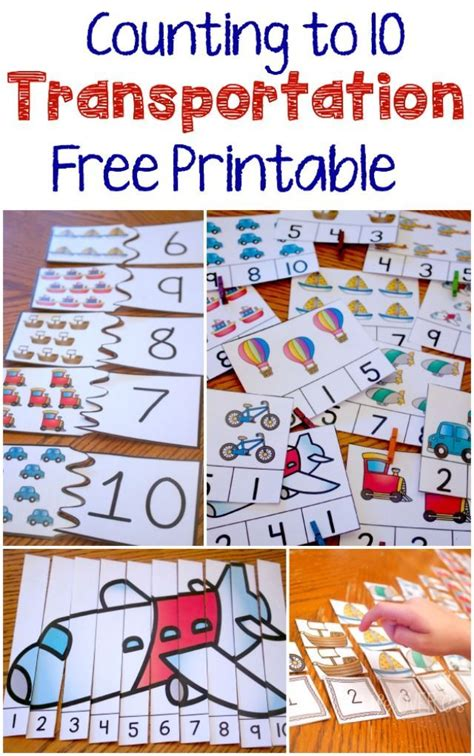 free transportation themed printable counting 10 transportation theme