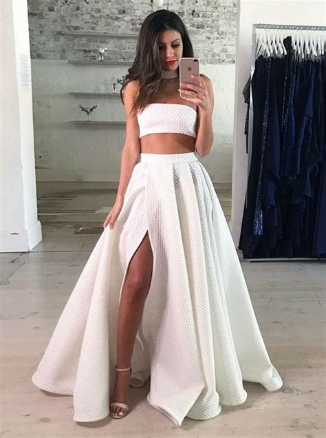piece strapless floor length white lace prom dresses