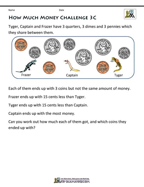 printable money worksheets 3rd grade money challenges