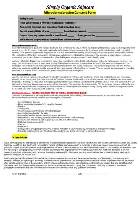 microdermabrasion consent form printable download