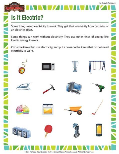 1st grade science worksheets electric free science worksheet