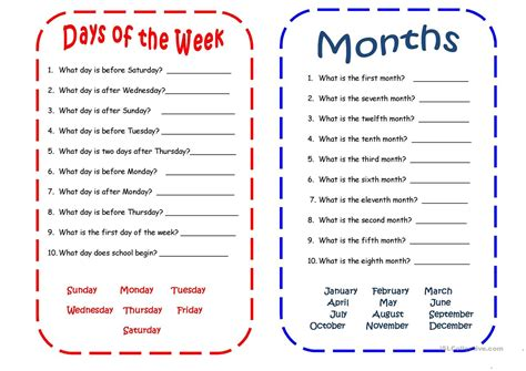 days months spanish language learning days week activities