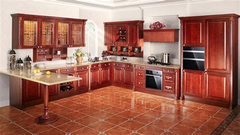 high quality solid wood walnut kitchen cabinets 3d
