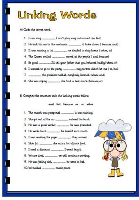 linking words revision worksheet