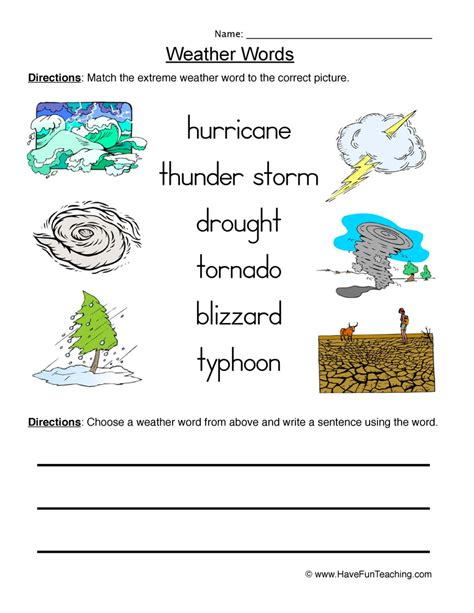 science weather worksheets resources
